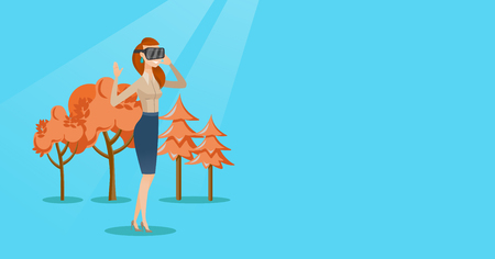 Woman wearing virtual reality headset in the park. Illustration