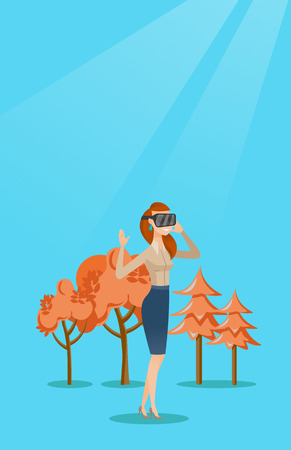 cyber woman: Woman wearing virtual reality headset in the park. Illustration