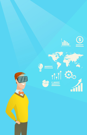 electronic commerce: Businessman in vr headset analyzing virtual data. Illustration