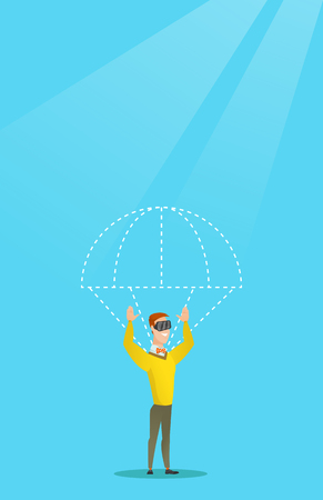 Caucasian man in vr headset flying with parachute. Illustration