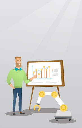 machinery: Businessman and robot giving business presentation