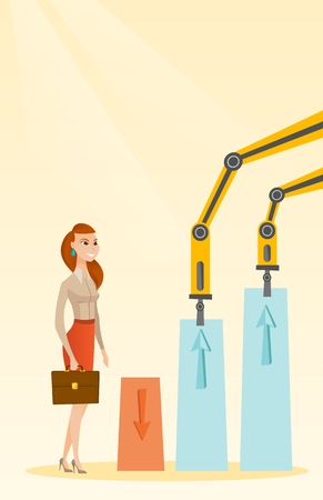 machinery: Robotic arms raise up business charts.