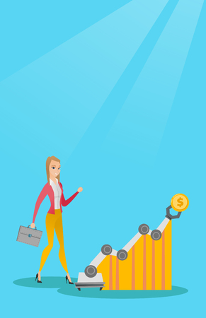 Young caucasian business woman looking at profit chart with robotic arm. Concept of receiving a profit from the use of robotic technologies. Vector cartoon illustration. Vertical layout.