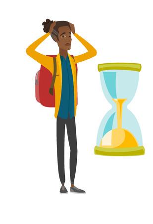 Worried african traveler man looking at hourglass.