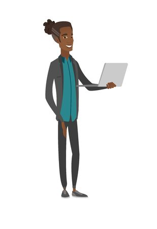 Young african-american man using a laptop. Vector illustration.