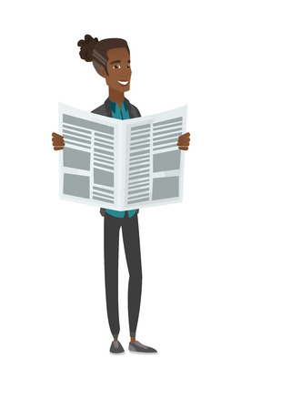 Young african-american man reading newspaper. Vector illustration. 向量圖像