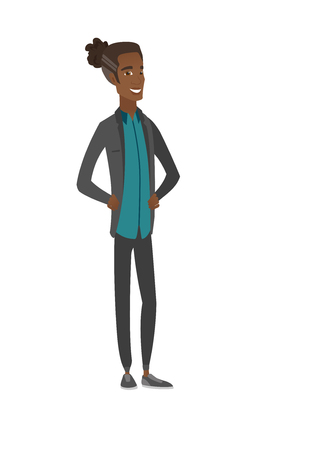 Young african-american confident man. Vector illustration. 向量圖像