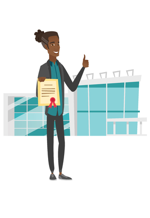 Young african-american man holding a certificate. Vector illustration.