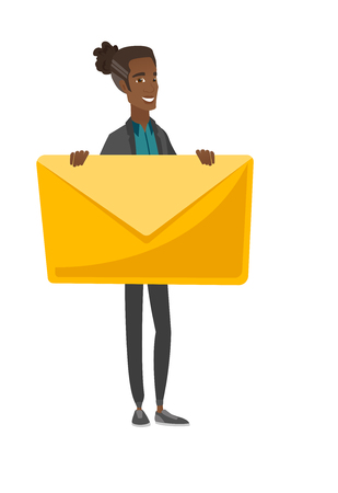 Young african-american man holding a big envelope. Vector illustration.