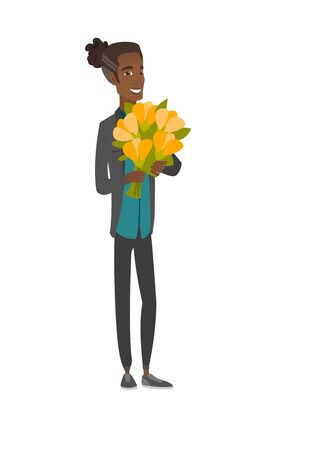 Young african man holding bouquet of flowers.
