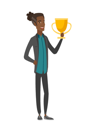 Young african-american man holding a trophy. 向量圖像
