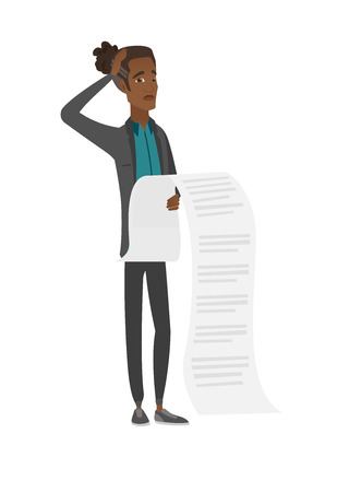 invoices: Young african accountant holding a long bill.
