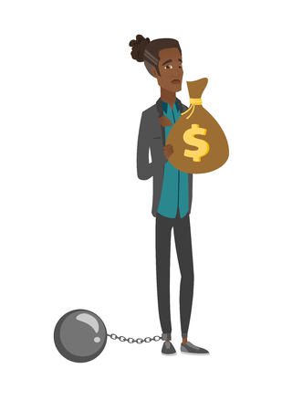 Young african businessman with bag full of taxes. Vector illustration. Illustration