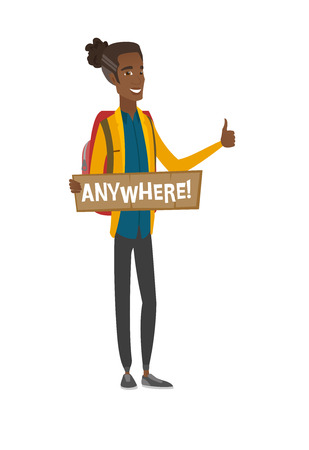 Young african-american traveler hitchhiking. Vector illustration.