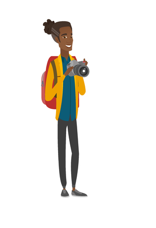 African nature photographer with digital camera. Vector illustration. Illustration