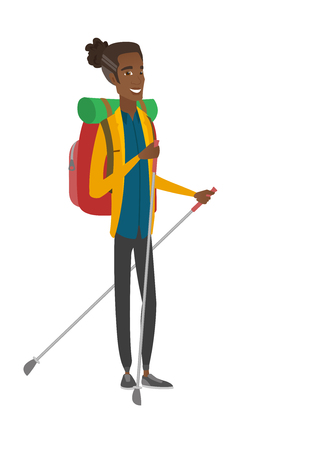 Young african hiker walking with trekking sticks. Vector illustration.