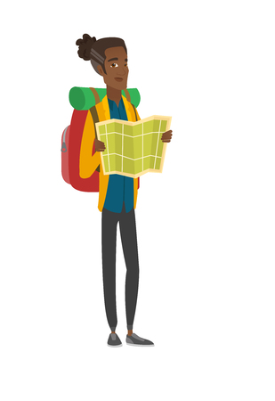 African traveler with backpack looking at map. Vector illustration.