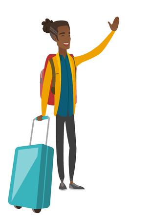 手を振って若いアフリカ系アメリカ人の旅行者。ベクトルの図。