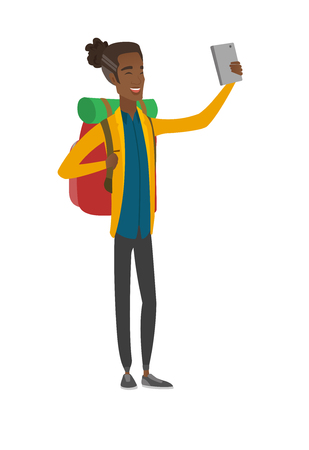 Young african traveler with backpack making selfie. Vector illustration. Illustration