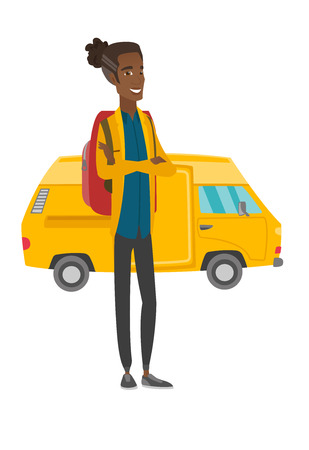 Traveler standing on the background of minibus. Vector illustration. Illustration