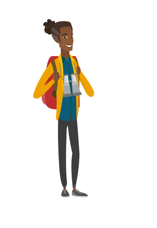 African backpacker with backpack and binoculars. Vector illustration.