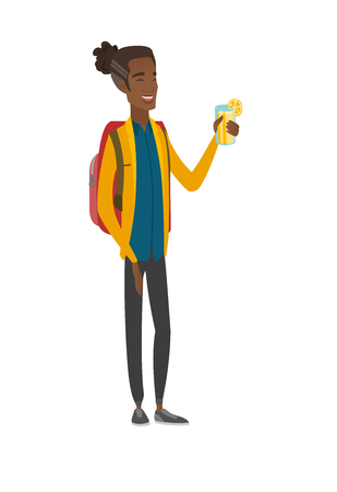 Young african-american traveler drinking cocktail. Vector illustration. Illustration