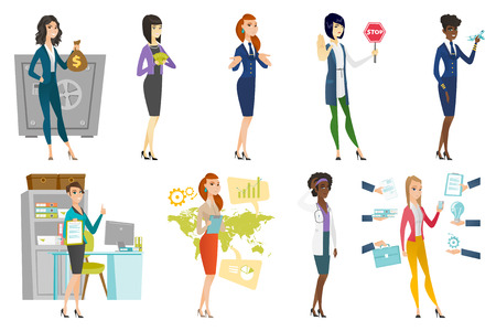 Business woman, stewardess, doctor profession set. Vector illustration. Illustration