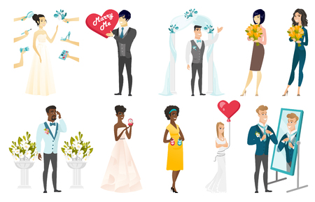 Set di illustrazioni vettoriali sposa e sposo. Illustrazione vettoriale.