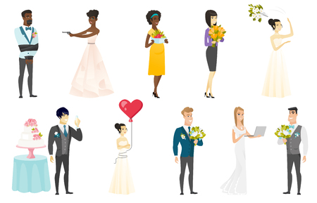 black family: Bride and groom vector illustrations set.