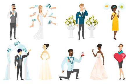 Bride and groom vector illustrations set.