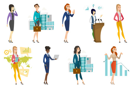 Business woman, stewardess set. Business woman standing on the background of world map, talking on mobile phone and other scenes. Set of vector flat design illustrations isolated on white background. Illustration