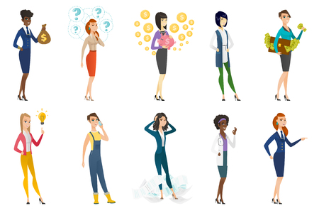 Business woman, stewardess, doctor, farmer set. Cheerful business woman thinking, holding piggy bank, briefcase full of money. Set of vector flat design illustrations isolated on white background.