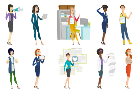 arms folded: Business woman, stewardess, doctor, farmer set. Business woman pressing social media icon with heart, standing with folded arms. Set of vector flat design illustrations isolated on white background.