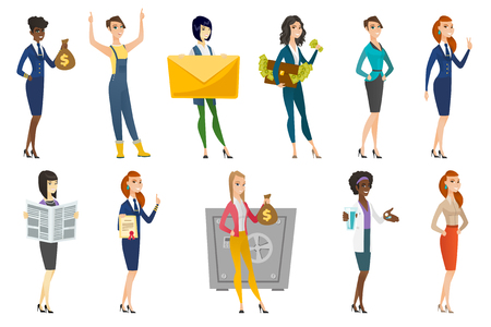 qualification: Business woman, stewardess, doctor profession set. Illustration