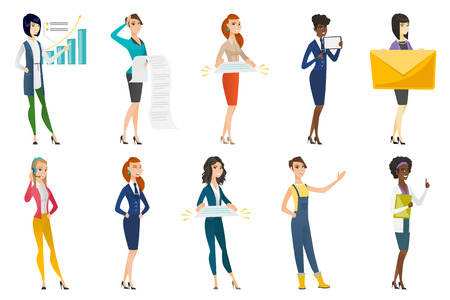 practitioner: Business woman, stewardess, doctor profession set. Illustration