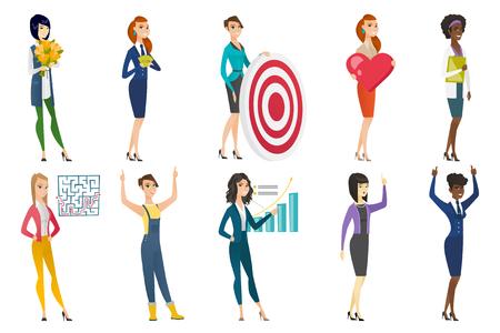 Business woman, stewardess, doctor profession set. Illustration