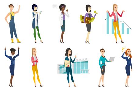 Business woman, stewardess, doctor profession set. Ilustrace