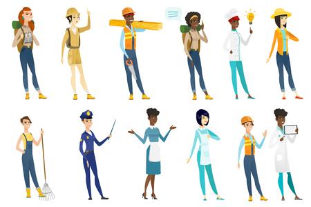 Professional women vector illustrations set.