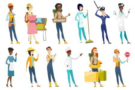 otolaryngologist: Profession set for women - builder, carpenter, tourist, chief-cooker, housekeeper, otolaryngologist doctor, police woman, farmer. Set of vector flat design illustrations isolated on white background. Illustration