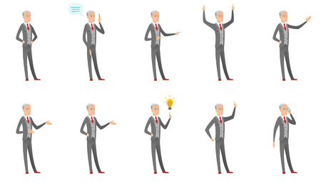 Senior caucasian businessman set. Businessman thinking, showing thumb down, giving a speech, laughing, pointing at idea lightbulb. Set of vector flat design illustrations isolated on white background.