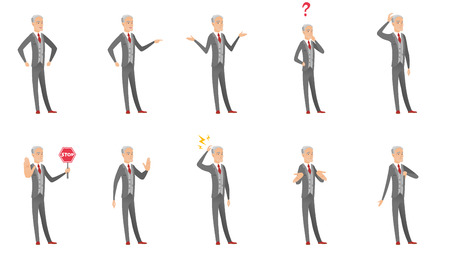 Senior caucasian businessman set. Businessman gesticulating with his hands, pointing at idea bulb, standing under question mark. Set of vector flat design illustrations isolated on white background. Ilustração