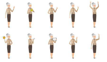 Senior caucasian business woman set. Business woman giving thumb up, showing ok sign, pointing finger, standing with raised arms. Set of vector flat design illustrations isolated on white background.