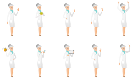 Senior caucasian doctor set. Doctor waving, holding money, giving thumb up, showing victory gesture, standing with raised arms up. Set of vector flat design illustrations isolated on white background.