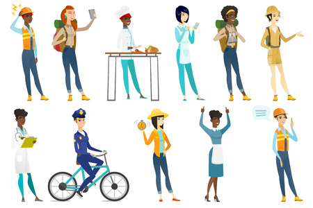 Profession set for women - builder in hard hat, tourist making selfie, chief-cooker, housekeeper, doctor, police woman, farmer. Set of vector flat design illustrations isolated on white background.