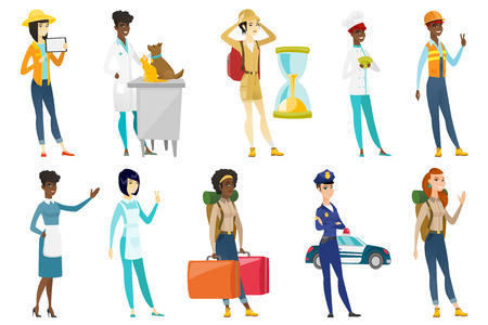 Profession set for women - builder, tourist, chief-cooker, housekeeper, veterinarian doctor, traffic cop, farmer with tablet. Set of vector flat design illustrations isolated on white background.