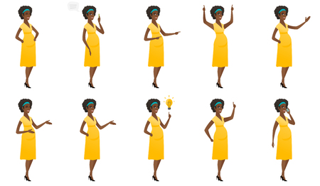 Pregnant woman talking on a mobile phone. Pregnant woman talking on cell phone. African pregnant woman talking on a mobile phone. Set of vector flat design illustrations isolated on white background.