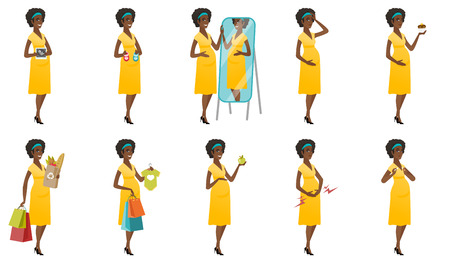 Pregnant african woman showing ultrasound scan. Pregnant woman holding ultrasound scan. Young pregnant woman with ultrasound scan. Set of vector flat design illustrations isolated on white background Çizim