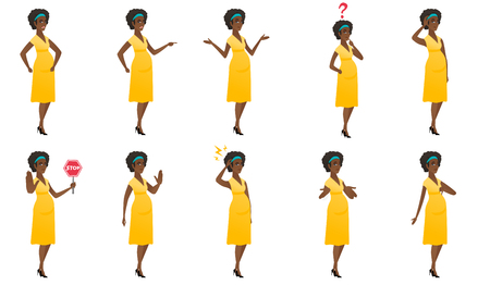 African pregnant woman scratching head. Full length of pregnant woman scratching head. Puzzled pregnant woman scratching head. Set of vector flat design illustrations isolated on white background. Illustration