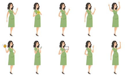 Young caucasian pregnant woman set. Pregnant woman waving hand, holding money, tablet computer, alarm clock, giving thumb up. Set of vector flat design illustrations isolated on white background.