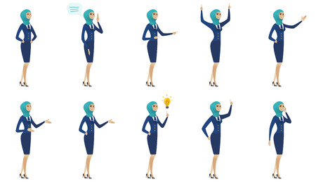 Young muslim stewardess set. Stewardess showing direction by hand, laughing, gesticulating her hands, talking on the mobile phone. Set of vector flat design illustrations isolated on white background.